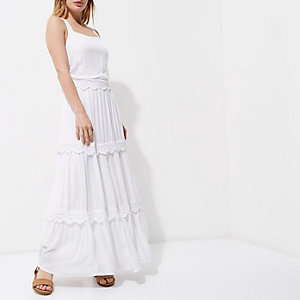 Petite white embroidered tiered maxi dress