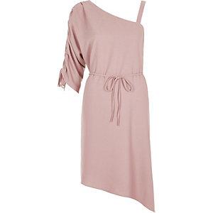 Light pink one shoulder swing dress