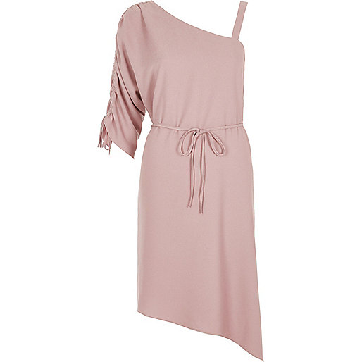Light pink one shoulder swing dress