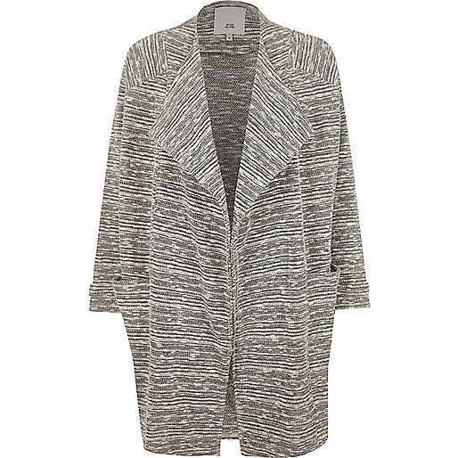 Dark beige lurex fallaway jacket
