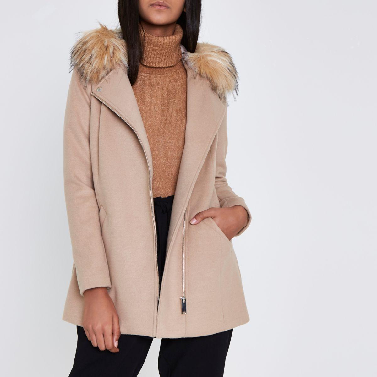 Camel faux fur trim hooded biker coat