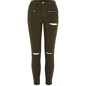 Skinny Fit Hose in Khaki mit aufgerissenen Knien