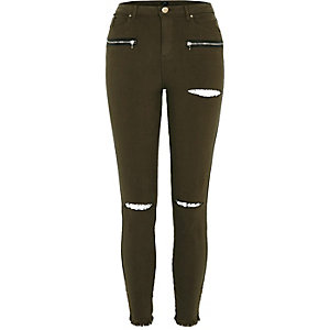 Khaki green ripped knee skinny fit pants