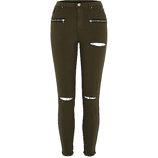 Khaki green ripped knee skinny fit trousers
