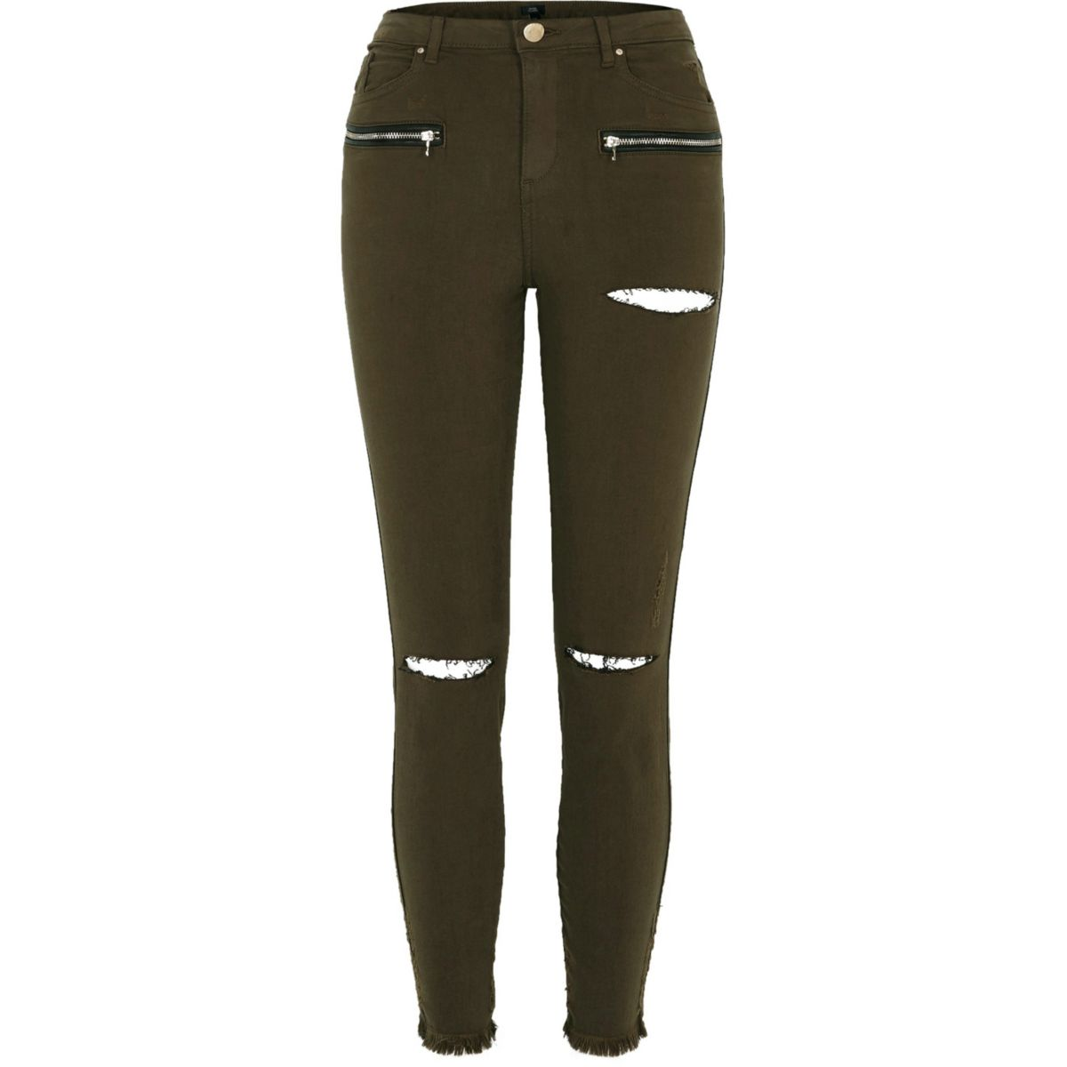 Khaki green ripped knee skinny fit trousers