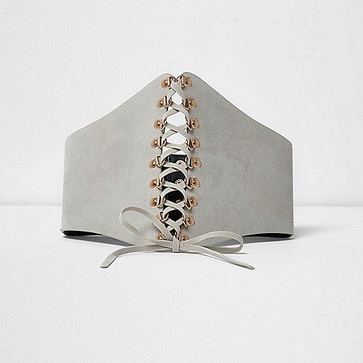 Light grey wide lace up corset belt