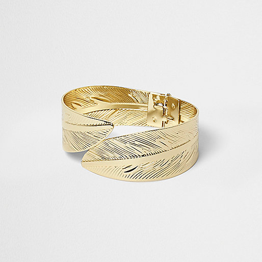 Gold tone feather wrap cuff