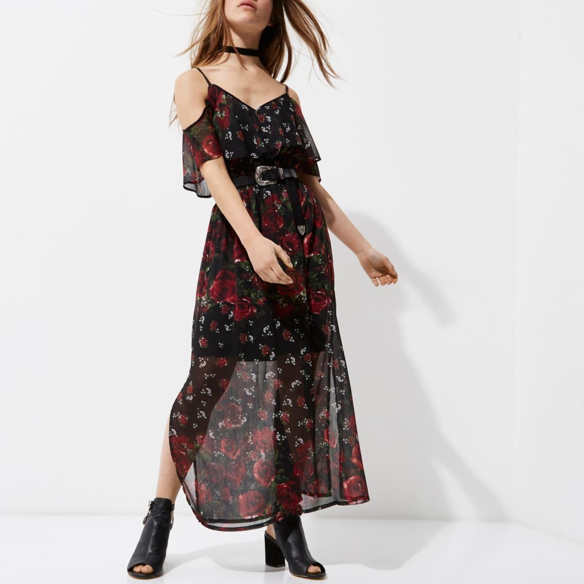 Petite black cold shoulder floral maxi dress