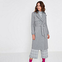 Grey belted trench coat
