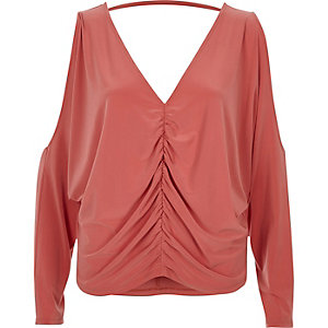 Coral ruched front cold shoulder batwing top