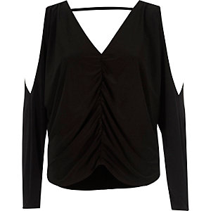 Black ruched front cold shoulder batwing top