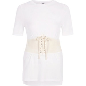 T-shirt crème effet corset