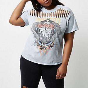 Plus – T-shirt imprimé groupe violet clair fendu