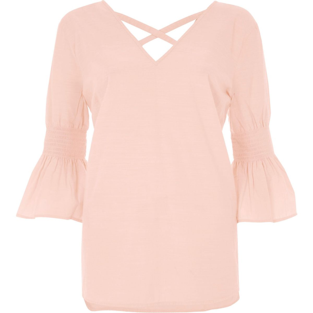 Light pink shirred bell sleeve top