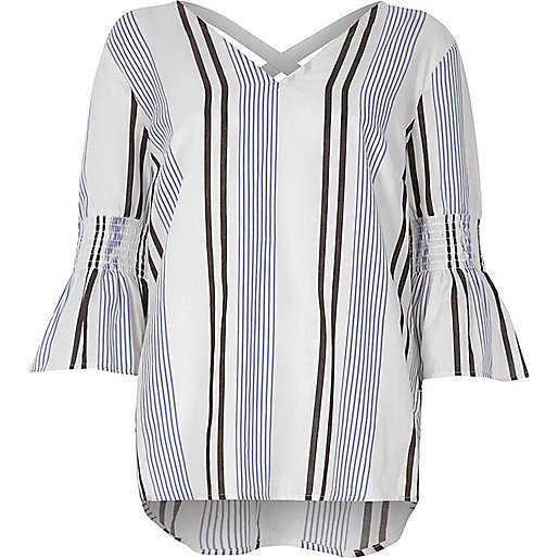 Blue stripe print shirred bell sleeve top