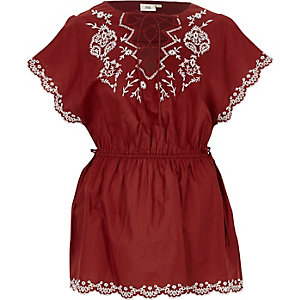 Dark red tie front embroidered top