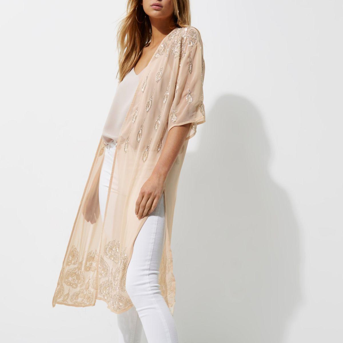 Light cream embellished longline kimono