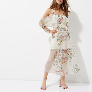 Petite cream floral cold shoulder maxi dress