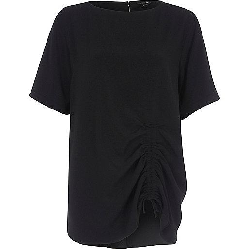 Zwart oversized T-shirt met ruches en trekkoord