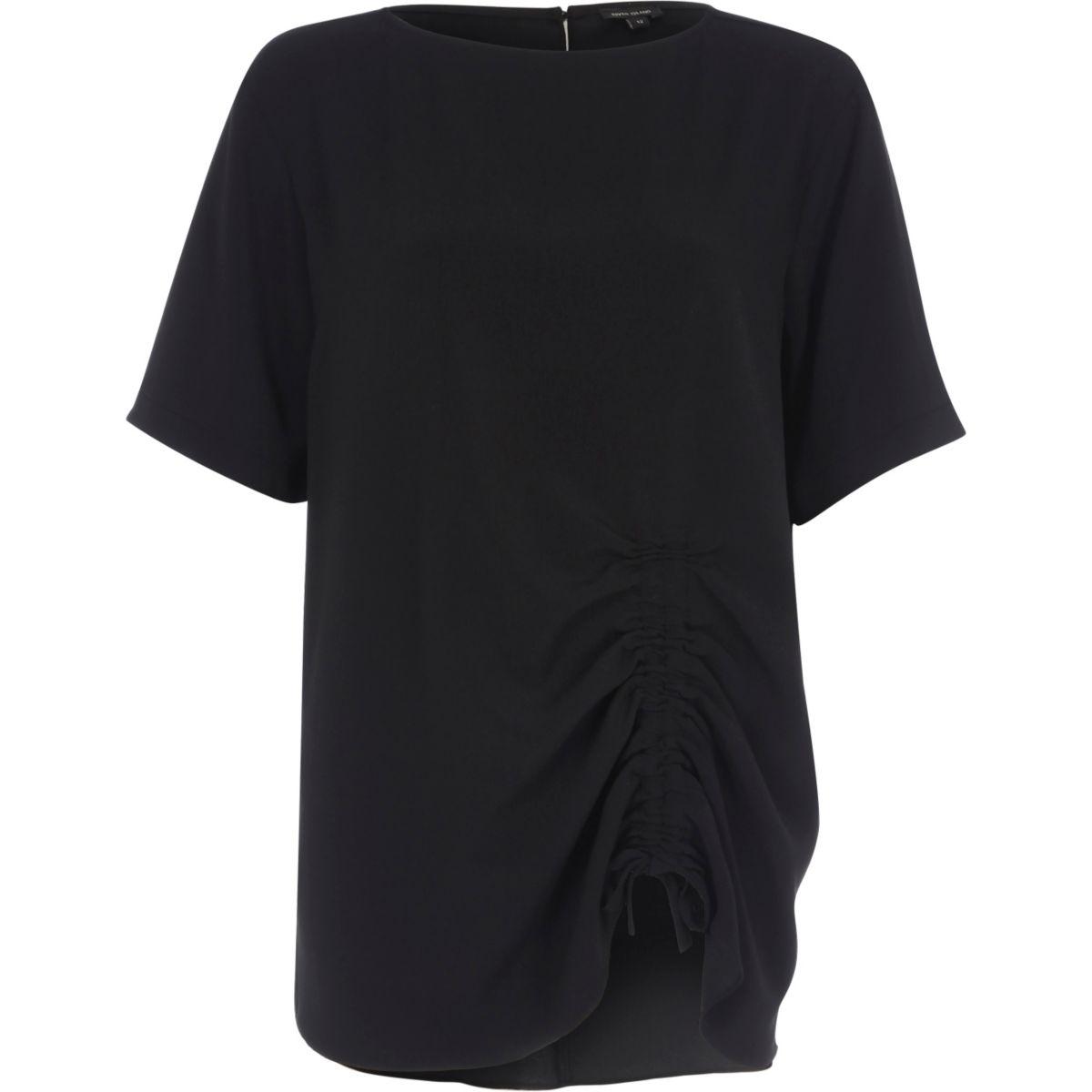 Black ruched drawstring oversized T-shirt