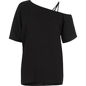 Black asymmetric one shoulder top