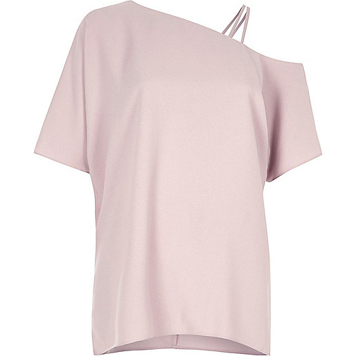 Light pink asymmetric one shoulder top