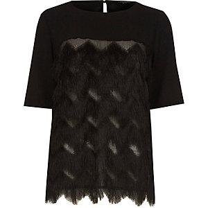 Black fringed crepe T-shirt