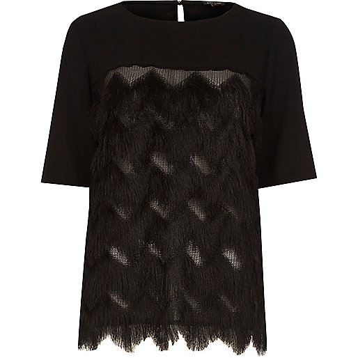 Black fringed crepe T-shirt