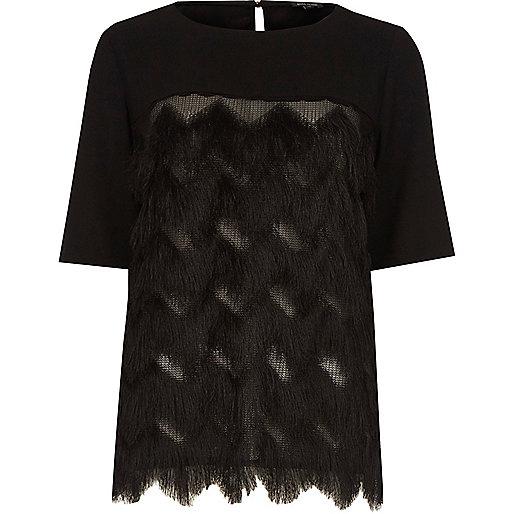 T-shirt en crêpe noir à franges