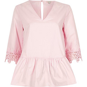 Pink crochet trim sleeve peplum hem top