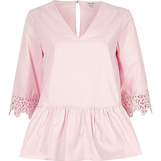 Pink crochet trim sleeve peplum hem top