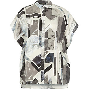 Grey abstract print frill shirt