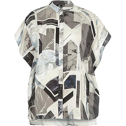 Grey abstract print frill shirt