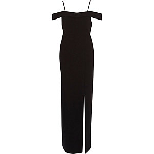Black bardot bodycon maxi dress