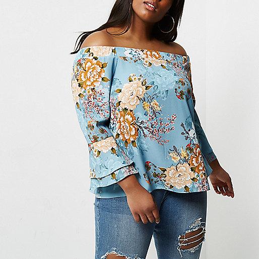 Plus blue floral print bell sleeve bardot top