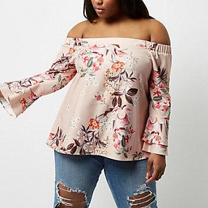 Plus pink floral print bell sleeve bardot top