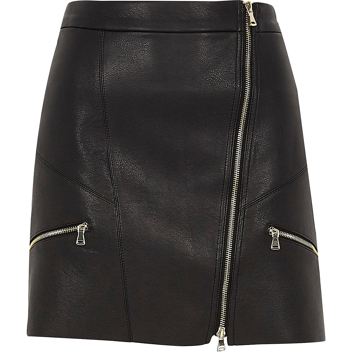 Black faux leather zip front mini skirt