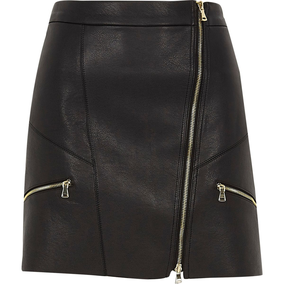 Black faux leather zip front mini skirt