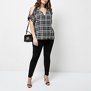 Plus black check print cold shoulder top