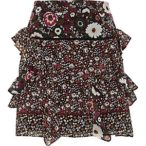 Black floral print frill mini skirt