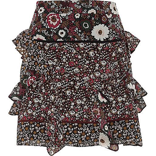 Schwarzer Minirock mit Blumenmuster