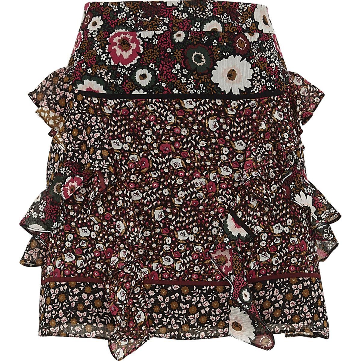 Black floral print frill mini skirt