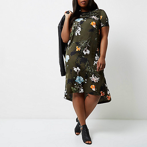 Plus khaki green floral T-shirt dress