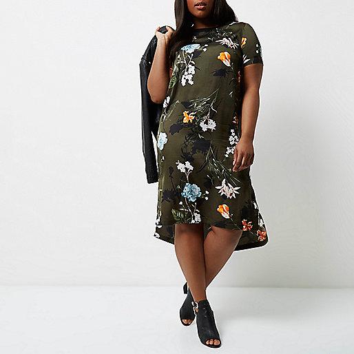 Plus khaki green floral T-shirt dress