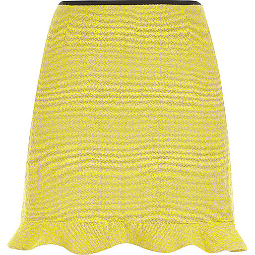 Yellow frill hem mini skirt