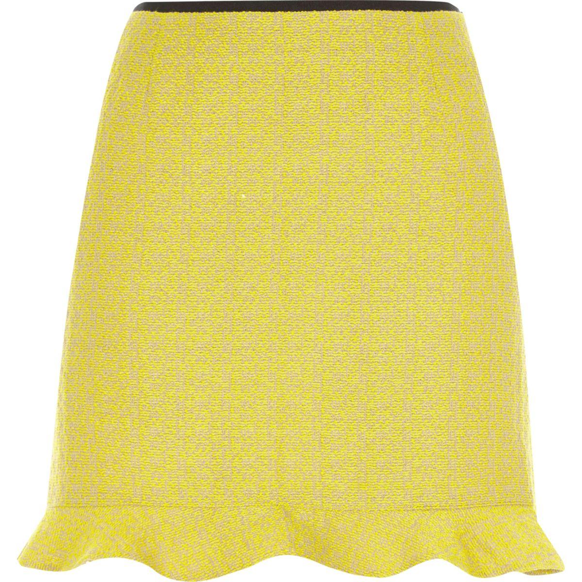 Yellow frill hem mini skirt