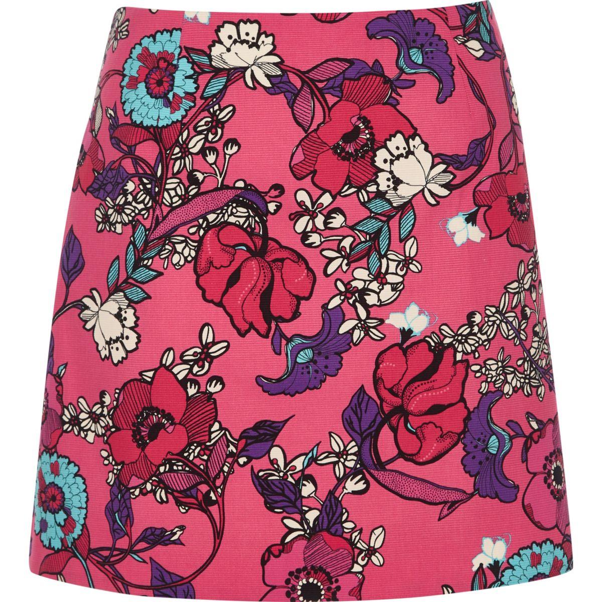 Pink floral print mini skirt