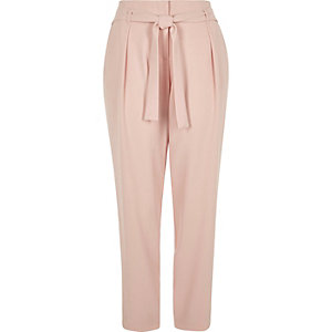 Light pink tie waist pants