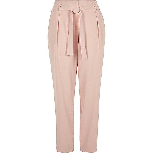 Light pink tie waist trousers