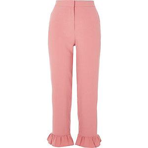 Pink frill hem cropped pants